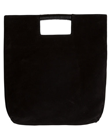 reid wrap handle tote in black suede