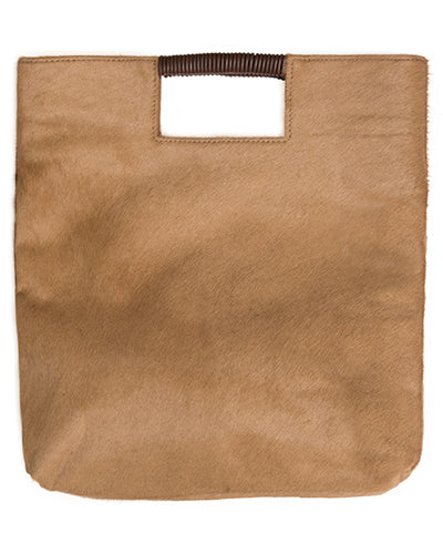 reid wrap handle tote in honey haircalf leather