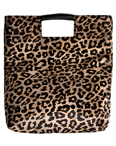 reid wrap handle tote in leopard haircalf leather