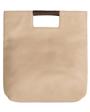 reid wrap handle tote in sand pebble leather