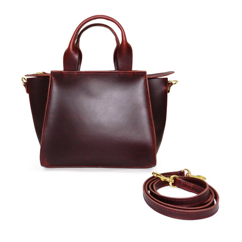 Ronnie Top Handle Crossbody in Vino Oil Tanned Cowhide