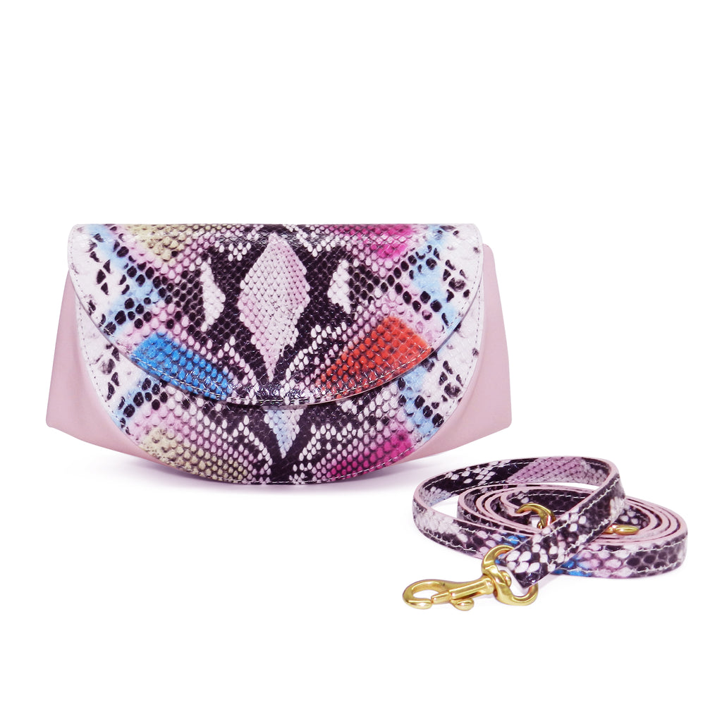 Roux Pleated Gusset Crossbody Clutch in Cotton Candy Cobra Leather