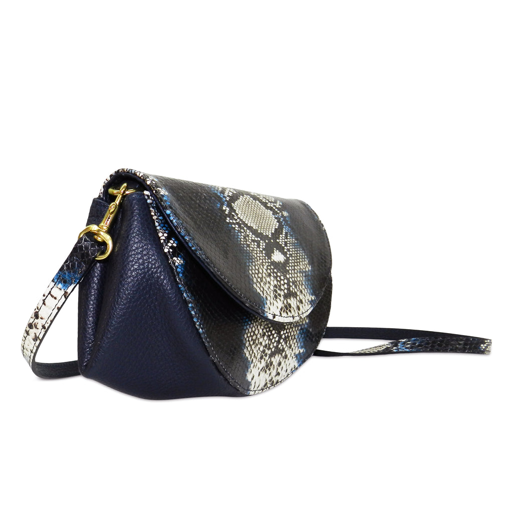 Roux Pleated Gusset Crossbody Clutch in Indigo Snake Leather