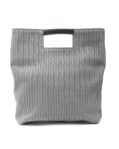 reid wrap handle tote in grey woven leather