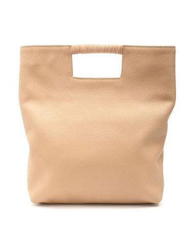 reid wrap handle tote in cappuccino buffalo leather