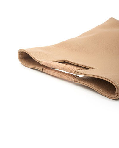 reid wrap handle tote in oatmeal buffalo leather