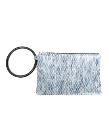 murphy bracelet clutch with black ring in blue striped snake cow leather