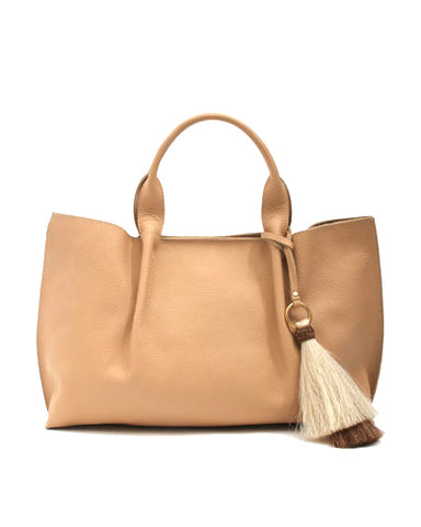 isabel tote in cappuccino buffalo cow leather with double horsehair tassel