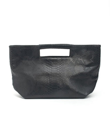 ella wrap handle clutch in black snake cow leather