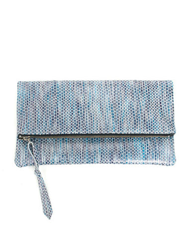 anastasia clutch in blue striped snake cow leather