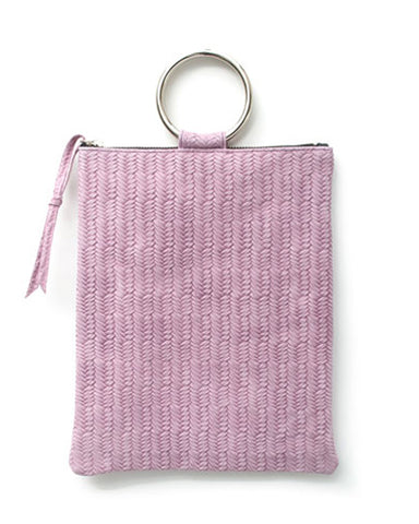 laine silver metal ring bag in lilac woven cow leather