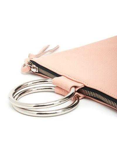 laine silver ring bag in pink pebbled leather