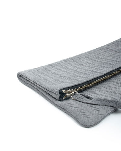 anastasia clutch in grey woven cow leather