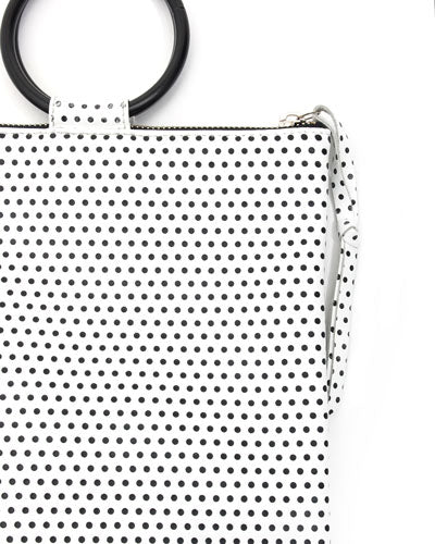 laine black metal ring bag in small polka dot cow leather