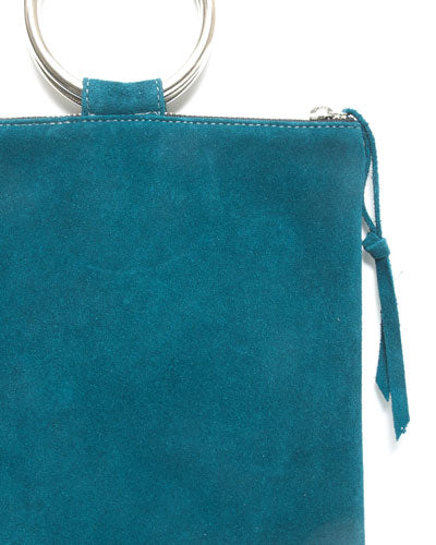 laine silver metal ring bag in teal suede leather