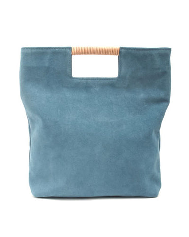 reid wrap handle tote in ocean suede leather