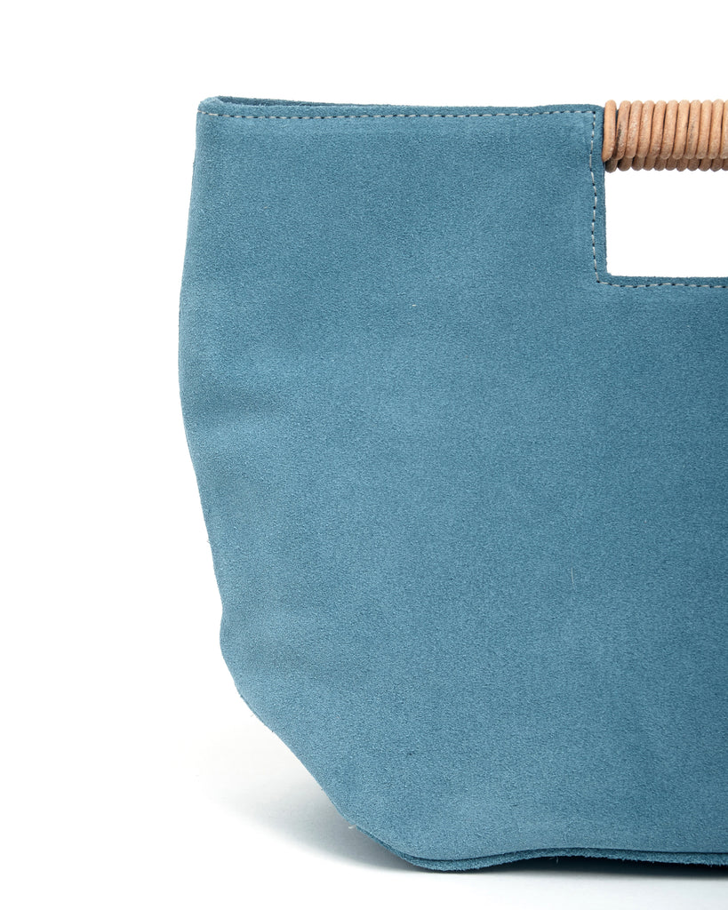 ella wrap handle clutch in ocean suede leather