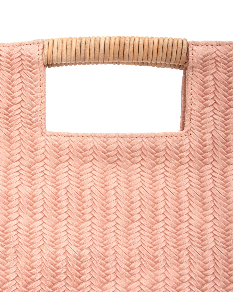 reid wrap handle tote in pink woven leather