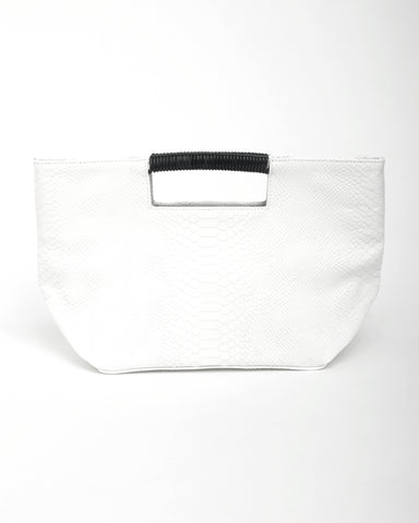 ella wrap handle clutch in white snake cow leather