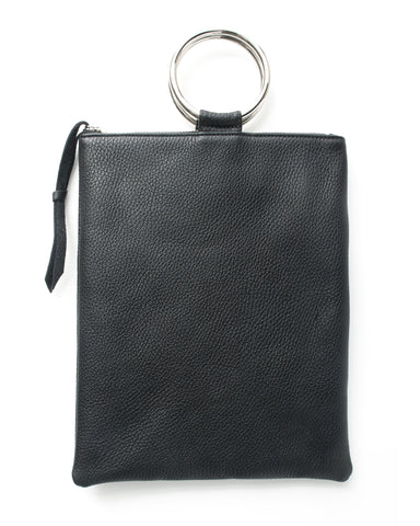 laine silver ring bag in black pebbled leather