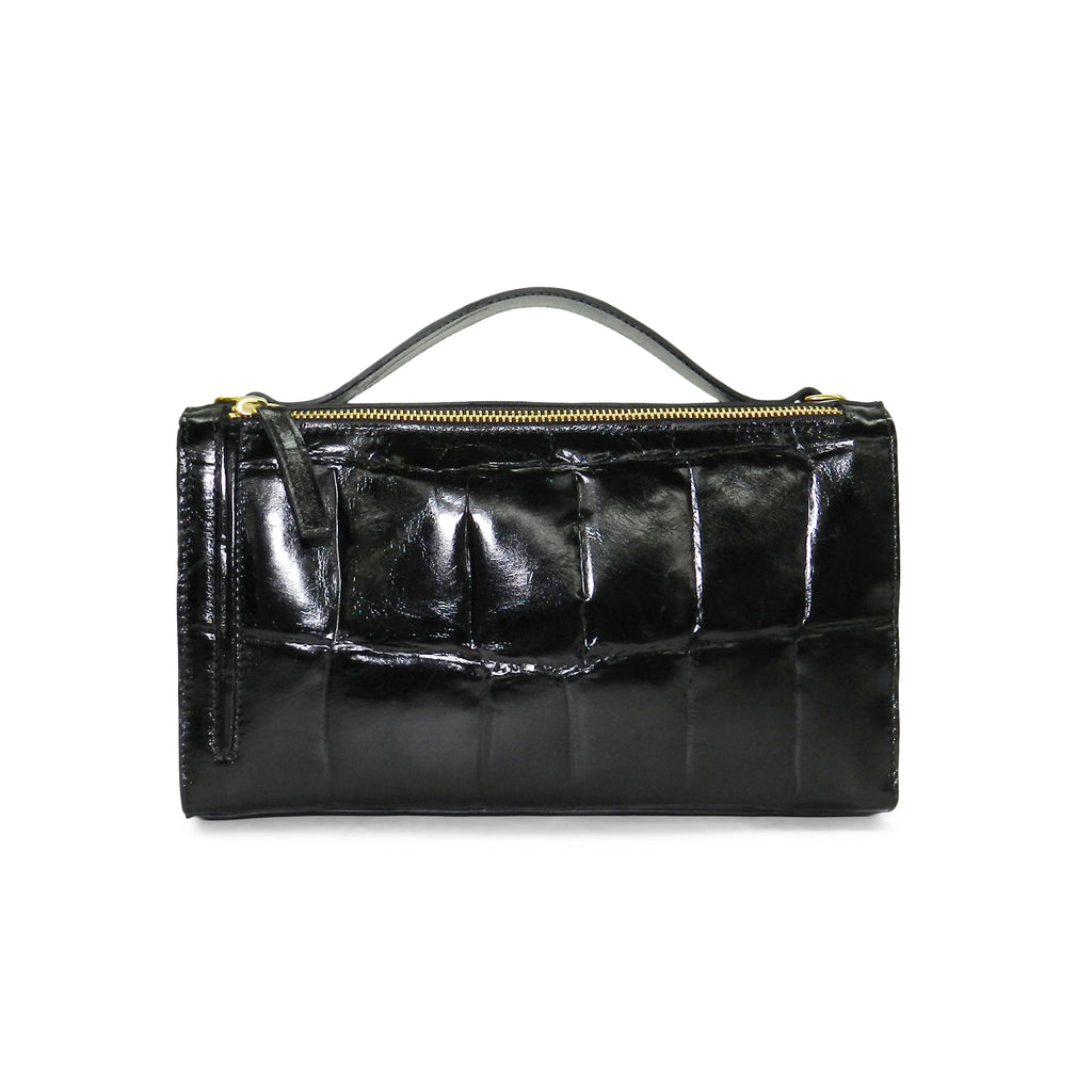 Sadie Satchel in Black Grande Croco Leather