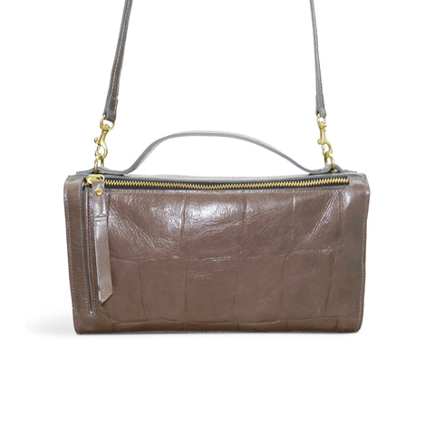Sadie Satchel in Taupe Grande Croco Leather