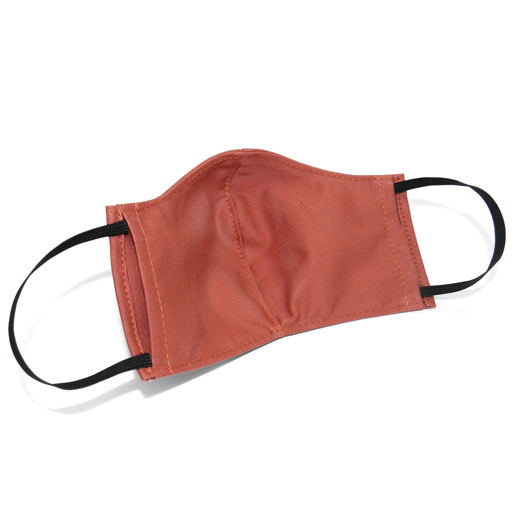 Men's Shaped Mask with Filter Pocket in Salmon Cotton Twill