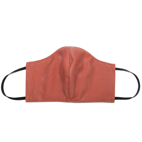Women's Shaped Mask with Filter Pocket in Salmon Cotton Twill
