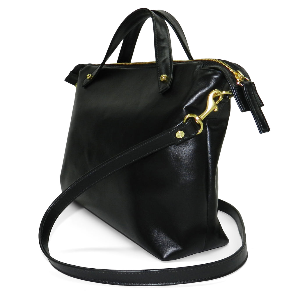 sienna satchel in black smooth & black woven cowhide leather