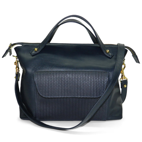 sienna satchel in navy smooth & navy woven cowhide leather- 1 left in stock!