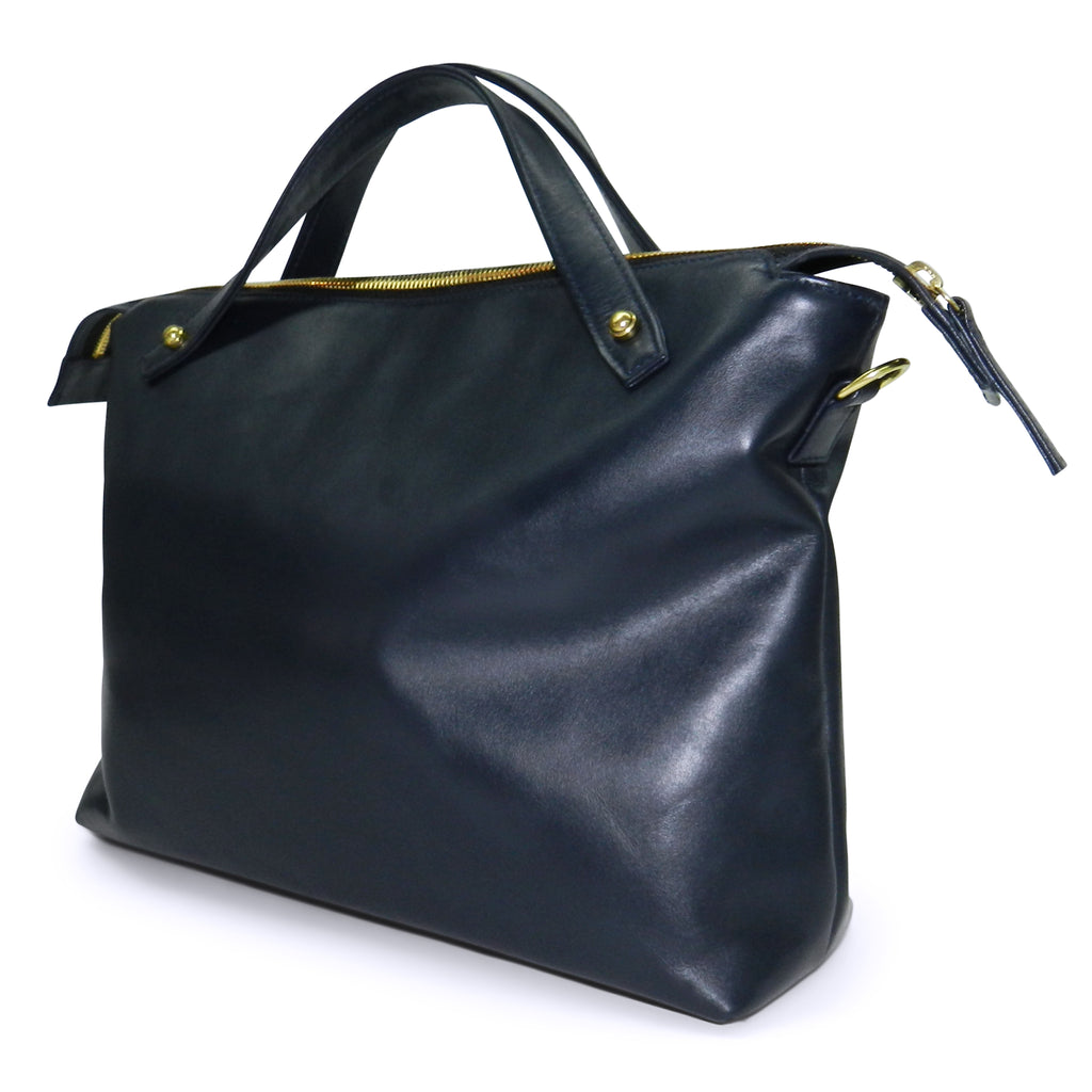 sienna satchel in navy smooth & navy woven cowhide leather