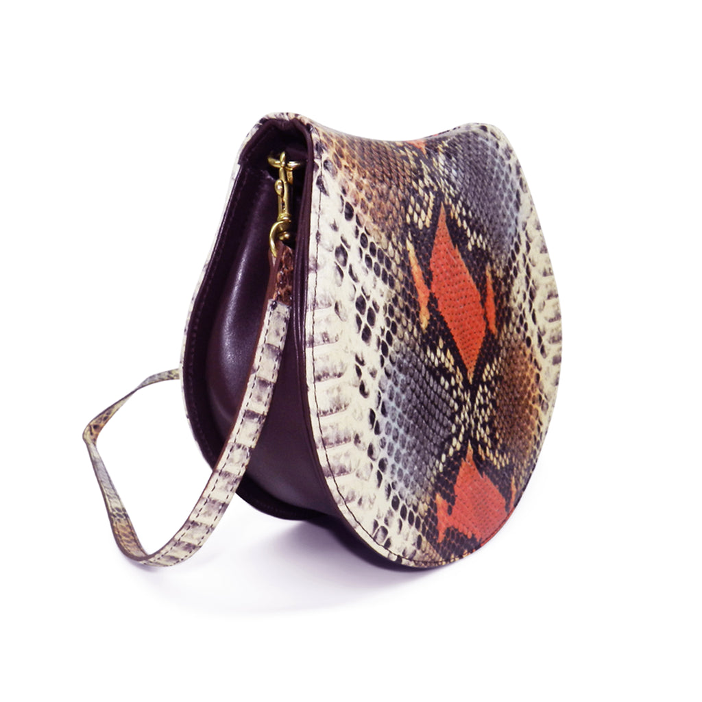 Sierra Saddle Crossbody in Harvest Snake Leather