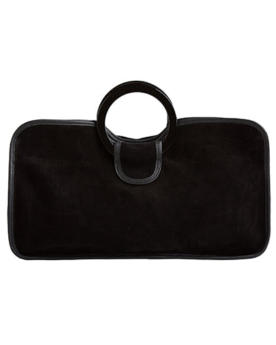 simone tote in black suede cow leather with resin handles