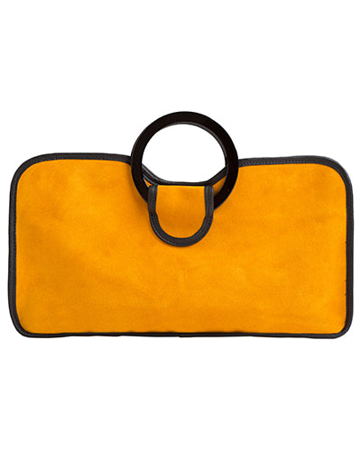 simone tote in marigold suede cow leather with resin handles