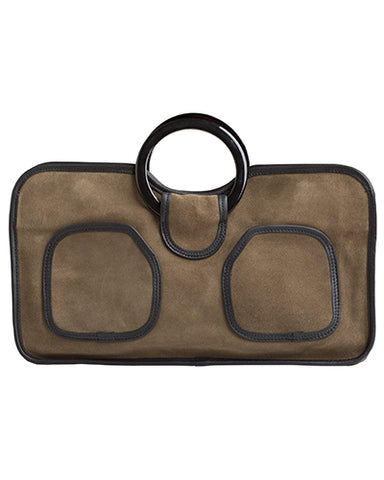 simone tote in olive suede cow leather with resin handles