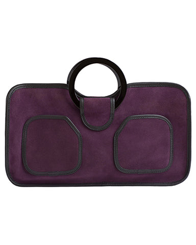 simone tote in purple suede cow leather with resin handles