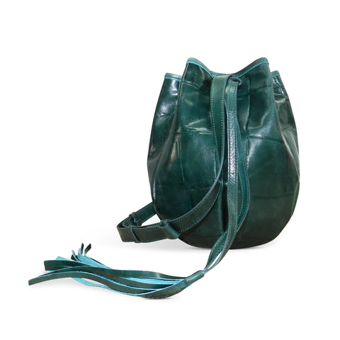 Stella Drawstring in Emerald Grande Croco Leather