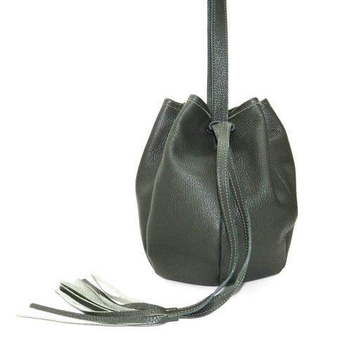 Stella Drawstring in Forest Pebble Cowhide