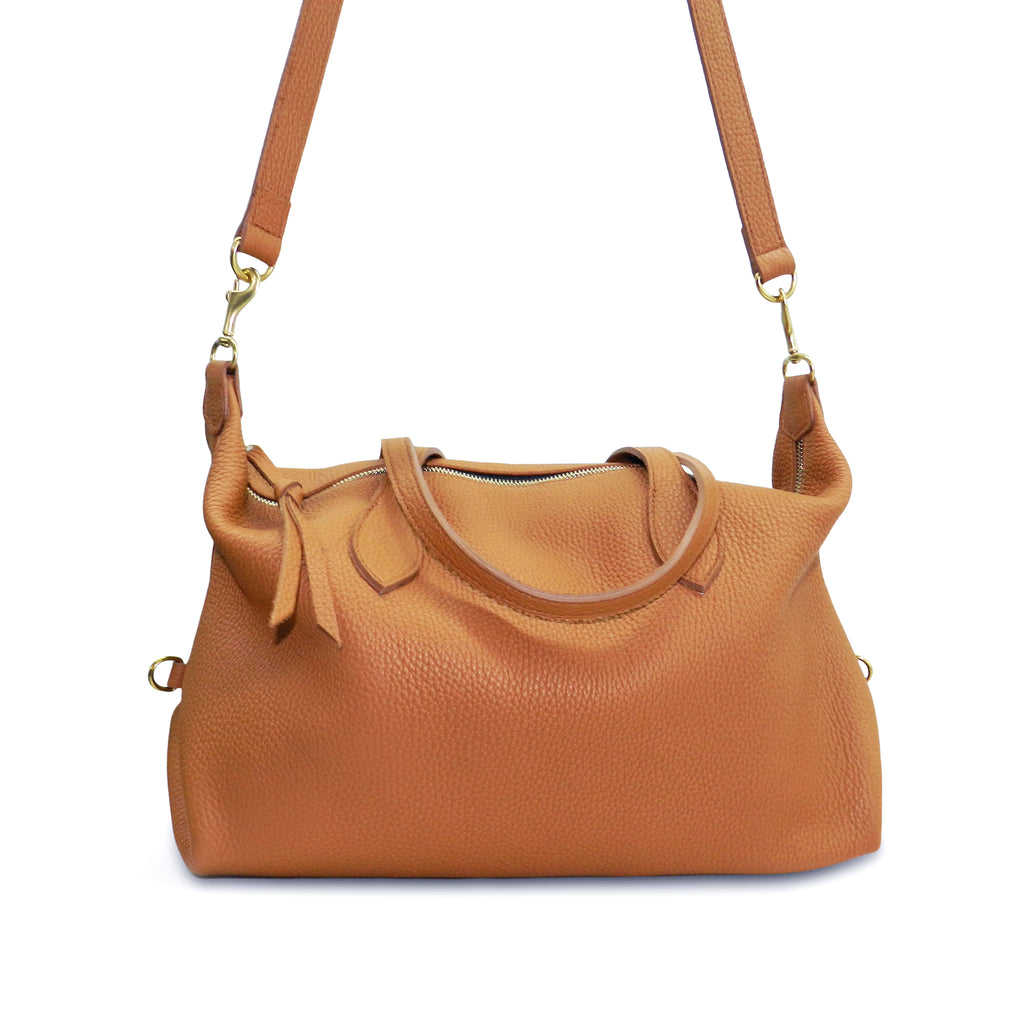 Sutton Convertible Satchel in Miel Buffalo Cowhide Leather