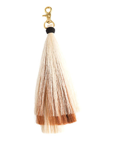 triple bell horse hair tassel on brass clip-blonde/brown/blonde