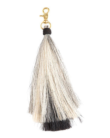 triple bell horse hair tassel on brass clip-grey/blonde/black
