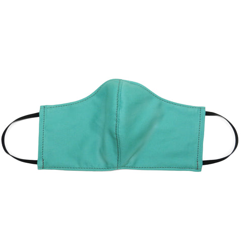 Women's Shaped Mask with Filter Pocket in Teal Cotton Twill