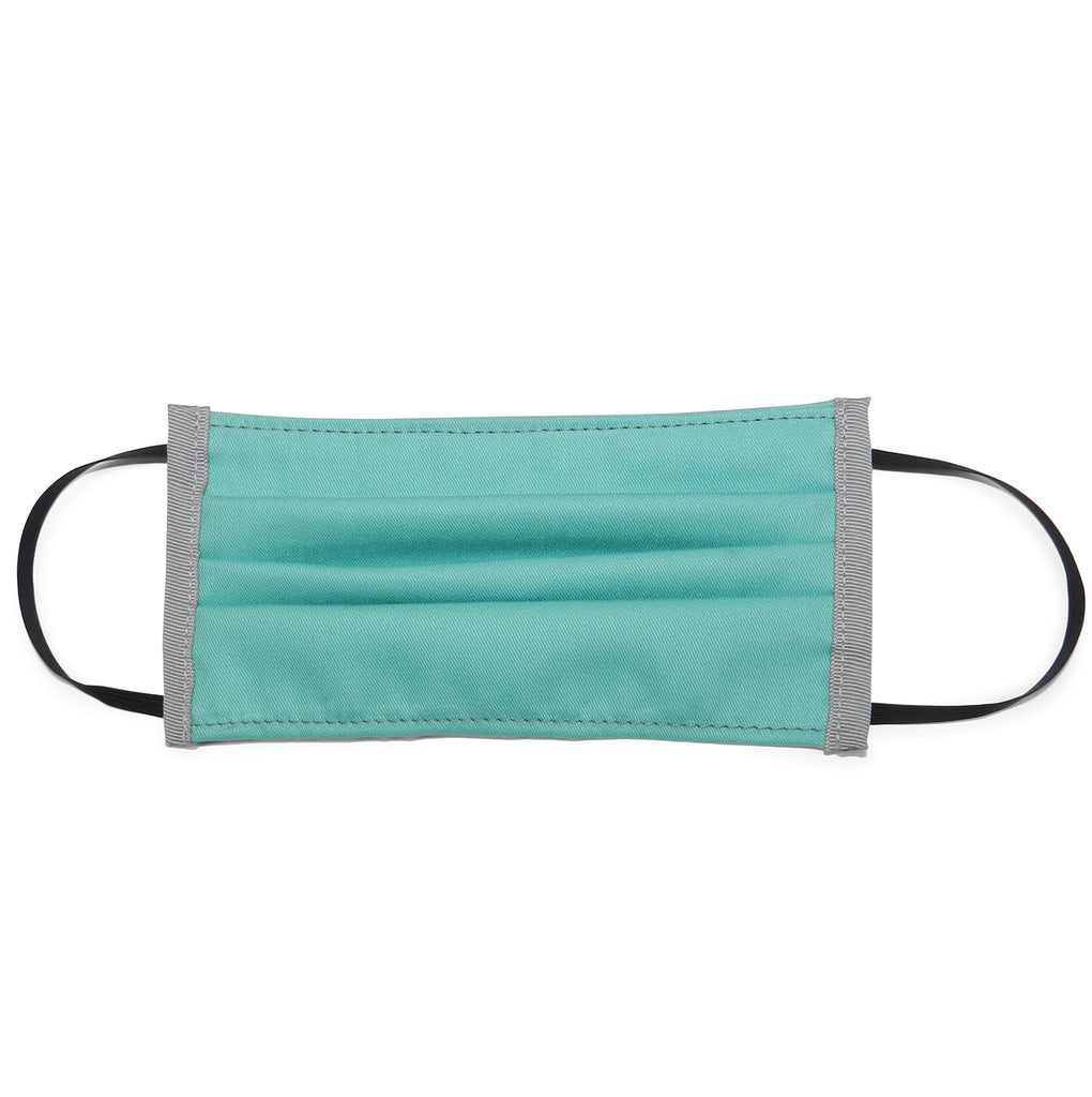 Pleated Cotton Twill Mask in Teal