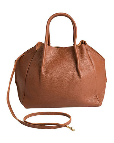 zoe tote in cognac pebble cow leather
