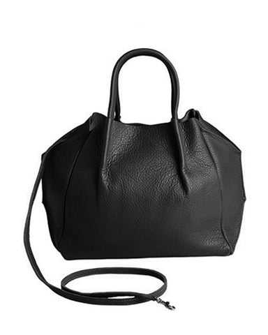 zoe tote in black pebble cow leather