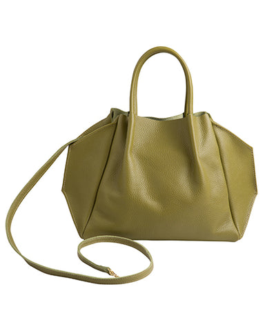 zoe tote in avocado pebble cow leather