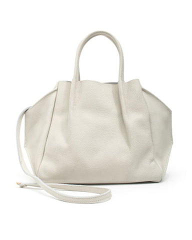 zoe tote in stone buffalo cow leather