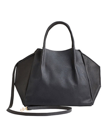 zoe tote in black buffalo cow leather