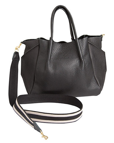 zoe tote in black pebble cow leather striped cotton cross body strap