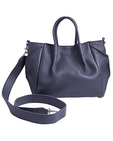 zoe lined tote in navy pebble cow leather wide cross body strap-FINAL SALE